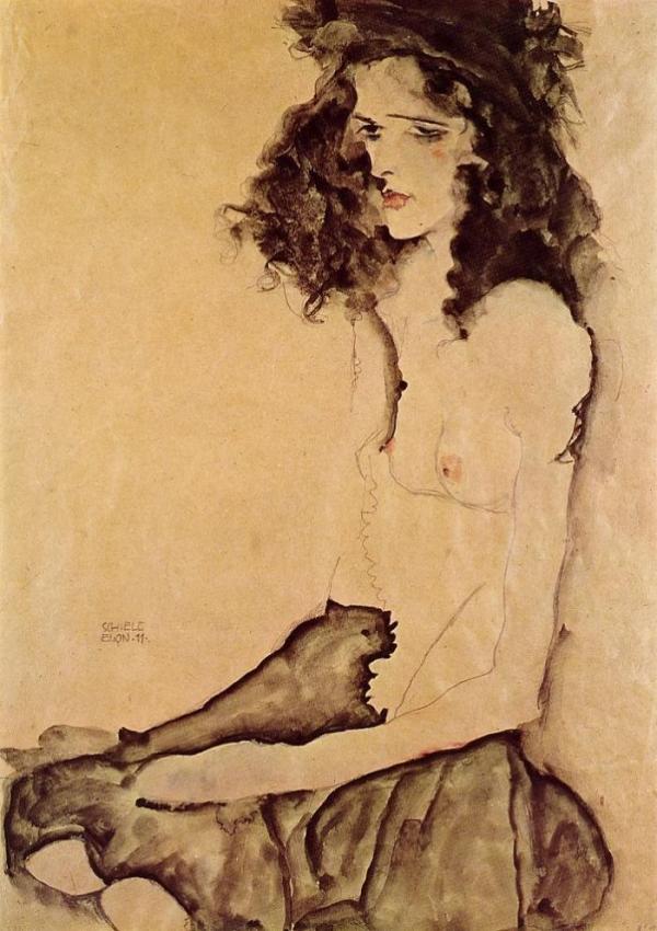 Girl in Black, Egon Schiele