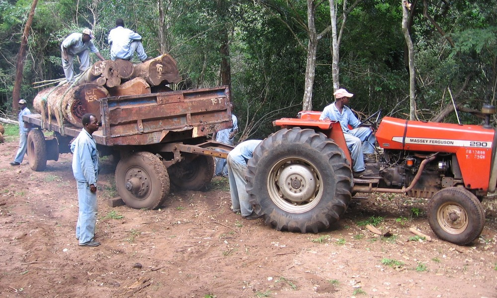 Transportation using tractors and trailers to prevent heavy trucks entering