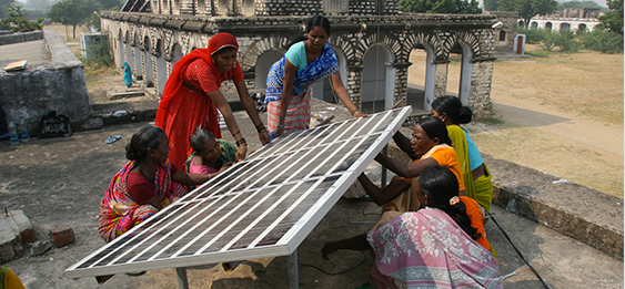Indian women install solar energy units at Barefoot College, where they're learning how to bring various technologies to their rural villages.