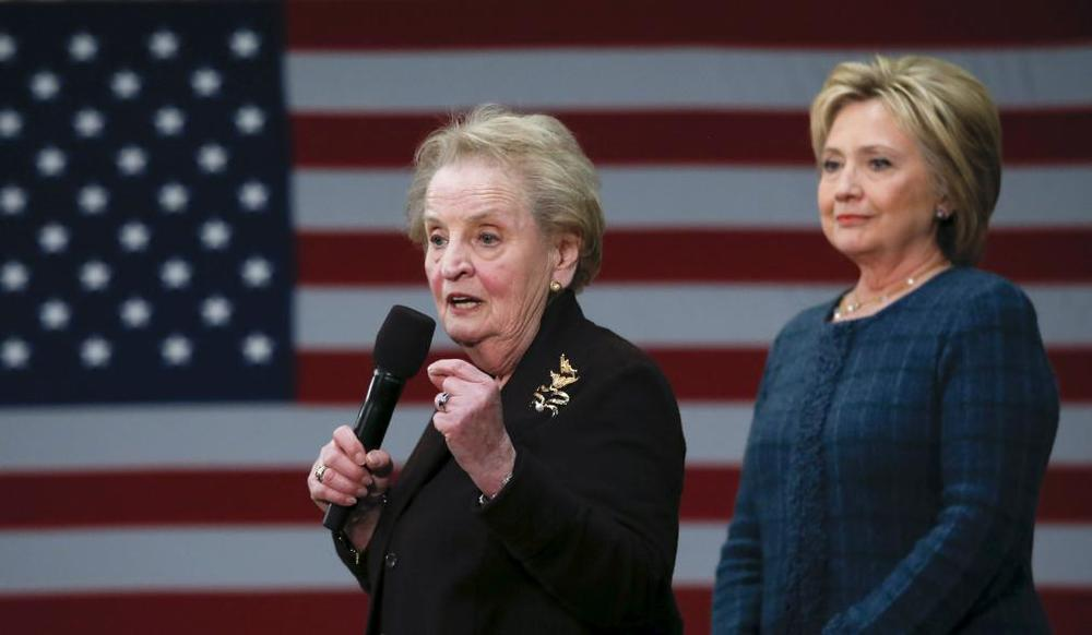 Madeleine Albright (center) and Hillary Clinton (right)