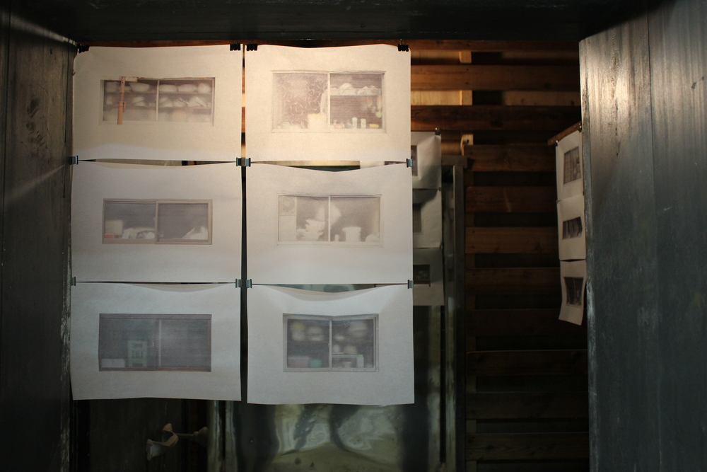 Photographs of buildings and houses frosted glass window. Printed on tracing paper