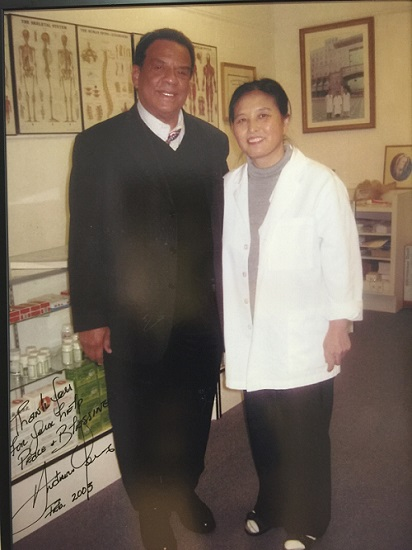 Andrew Young with Dr. Jin at the Acupuncture Clinic