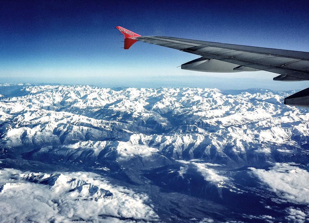 Flying over mountains on our way to Spanish mountains