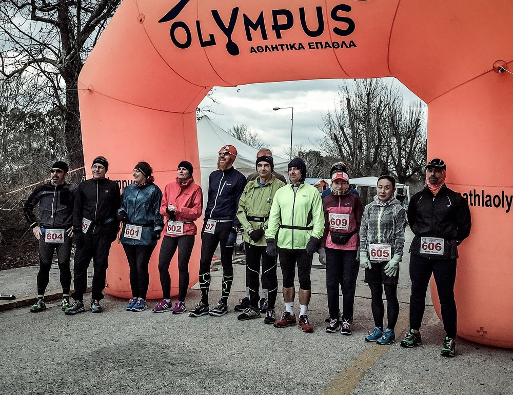The 6-day runners at the starting line. All dressed up for an unusually cold day in Greece.