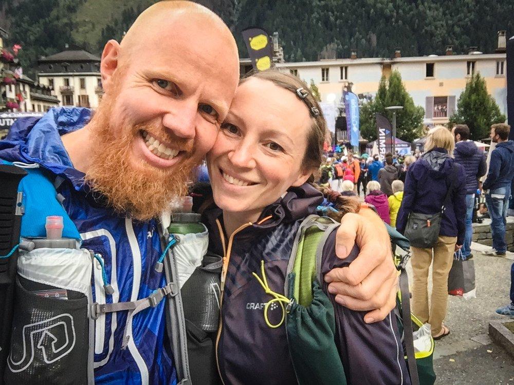 Ellen och jag precis innan starten i Chamonix
