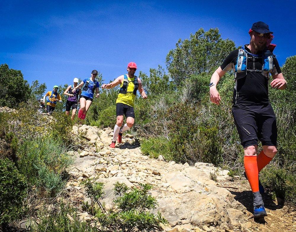 Nedförslöpning på vårt  Ultra Trail Camp Spain
