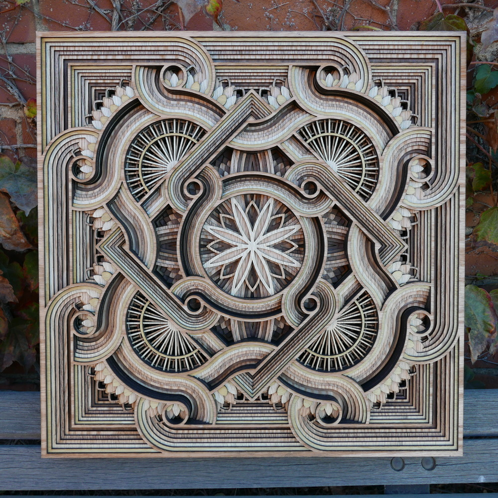 Byzantine Tile,Laser-Cut Wood Relief Sculptures by Gabriel Schama #artpeople