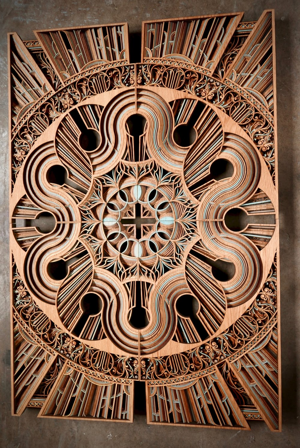 "AUTOPHAGY 62"" x 42"" red oak plywood 2017"