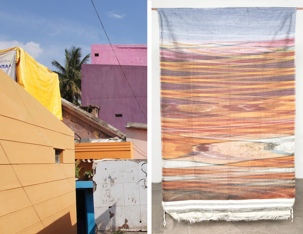 pure silk rewoven tapestry, photograph taken in Bangalore, India