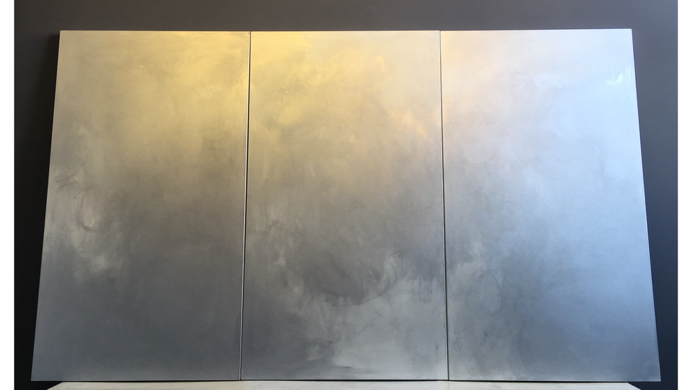 IVAN WONG, CHROMIUM NO. 1, 2015, CHROME PIGMENT on LINEN, THREE PANELS 72 × 120 inches unframed (182.88 × 304.8 cm) © IVAN WONG