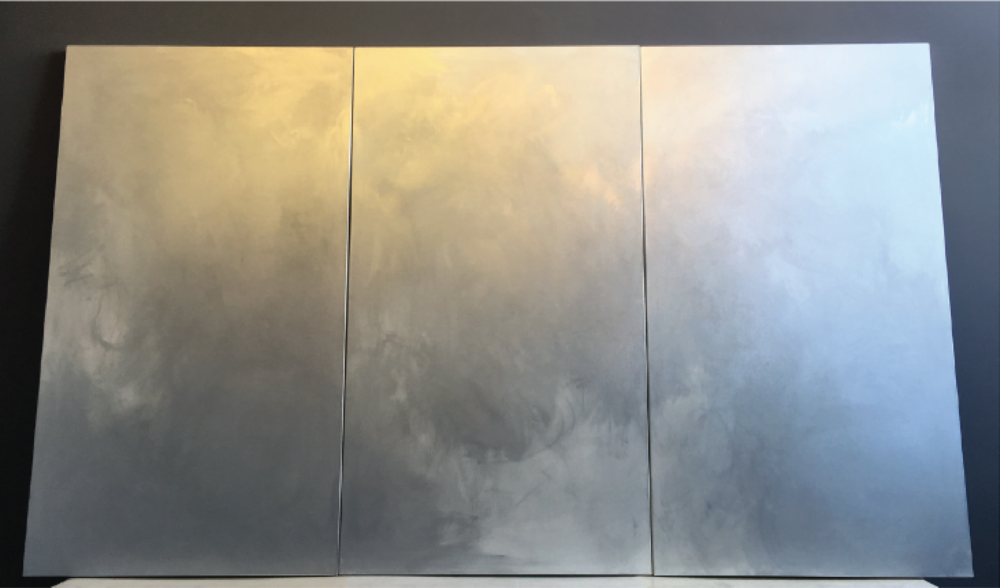 CHROMIUM NO. 1 , SPRING 2015, CHROME PIGMENT ON LINEN, THREE PANELS, 72 X 120 INCHES (182.88 X 304.8 CM)