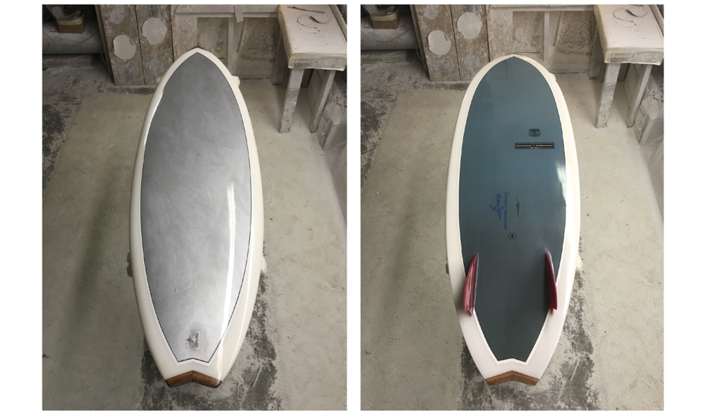 CHROMIUM US 101 (SURFBOARD) NO. 2,  SPRING 2016, HAND-SHAPED POLYURETHANE FOAM, FIBERGLASS AND RESIN SURFBOARD WITH HAND-PAINTED PHOTOCLOTH INLAY (CHROME PIGMENT ON PHOTOCLOTH); PRINTED INK PHOTOCLOTH INLAY; GLASSED-IN RED HYNSON FINS; RESIN LOOP; HAND-PAINTED PINLINES; HAWAIIAN KOA WOOD NOSE AND TAIL BLOCKS; WONG AND HYSON LOGOS AND SIGNATURES; NUMBER; GLOSS AND POLISH FINISH, 66 X 22 X 2.5 INCHES (167.64 X 55.88 X 6.35 CM)