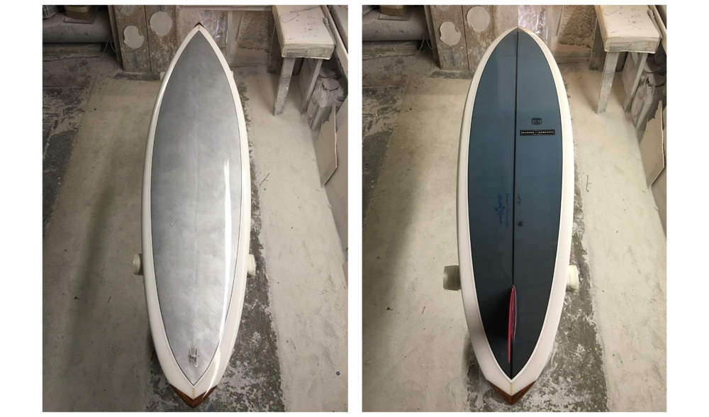 CHROMIUM US 101 (SURFBOARD) NO. 10,  SUMMER 2016, HAND-SHAPED POLYURETHANE FOAM, FIBERGLASS AND RESIN SURFBOARD WITH HAND-PAINTED PHOTOCLOTH INLAY (CHROME PIGMENT ON PHOTOCLOTH); PRINTED INK PHOTOCLOTH INLAY; GLASSED-IN RED HYNSON FIN; RESIN LOOP; HAND-PAINTED PINLINES; HAWAIIAN KOA WOOD NOSE AND TAIL BLOCKS; WONG AND HYSON LOGOS AND SIGNATURES; NUMBER; GLOSS AND POLISH FINISH, 86 X 22 X 2.5 INCHES (218.44 X 55.88 X 6.35 CM)
