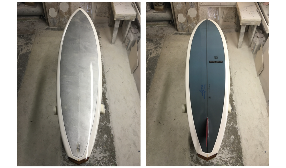 CHROMIUM US 101 (SURFBOARD) NO. 9,  SUMMER 2016, HAND-SHAPED POLYURETHANE FOAM, FIBERGLASS AND RESIN SURFBOARD WITH HAND-PAINTED PHOTOCLOTH INLAY (CHROME PIGMENT ON PHOTOCLOTH); PRINTED INK PHOTOCLOTH INLAY; GLASSED-IN RED HYNSON FIN; RESIN LOOP; HAND-PAINTED PINLINES; HAWAIIAN KOA WOOD NOSE AND TAIL BLOCKS; WONG AND HYSON LOGOS AND SIGNATURES; NUMBER; GLOSS AND POLISH FINISH, 84 X 22 X 2.5 INCHES (213.36 X 55.88 X 6.35 CM)