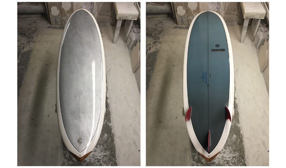 CHROMIUM US 101 (SURFBOARD) NO. 7,  SUMMER 2016, HAND-SHAPED POLYURETHANE FOAM, FIBERGLASS AND RESIN SURFBOARD WITH HAND-PAINTED PHOTOCLOTH INLAY (CHROME PIGMENT ON PHOTOCLOTH); PRINTED INK PHOTOCLOTH INLAY; GLASSED-IN RED HYNSON FINS; RESIN LOOP; HAND-PAINTED PINLINES; HAWAIIAN KOA WOOD NOSE AND TAIL BLOCKS; WONG AND HYSON LOGOS AND SIGNATURES; NUMBER; GLOSS AND POLISH FINISH, 82 X 22 X 2.5 INCHES (208.28 X 55.88 X 6.35 CM)