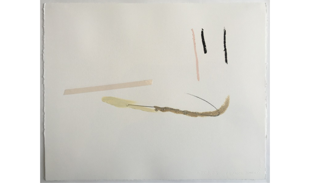 UNTITLED DRAWING NO. 6 , WINTER 2015, OIL, GRAPHITE AND JAPANESE TAPE ON ARCHES RIVES BFK, 20 X 16 INCHES (50.8 X 40.64 CM)
