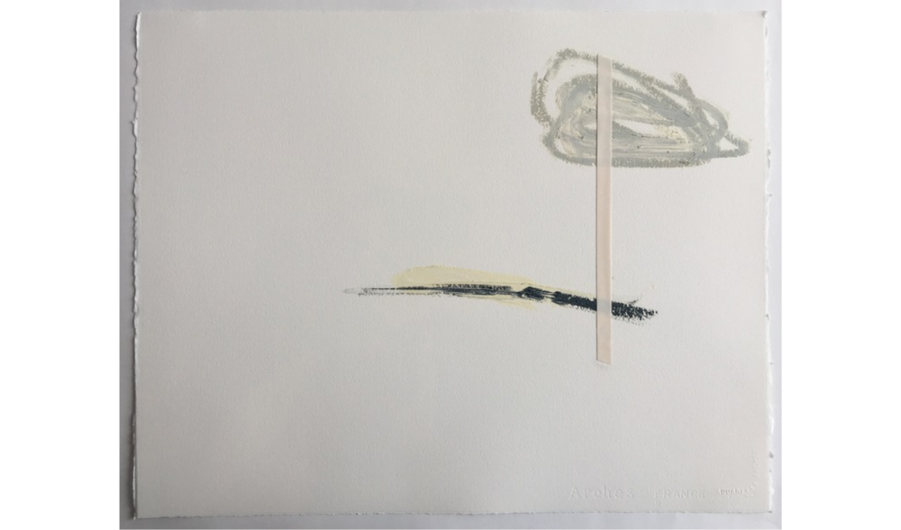 UNTITLED DRAWING NO. 9 , WINTER 2015, OIL, GRAPHITE AND JAPANESE TAPE ON ARCHES RIVES BFK, 20 X 16 INCHES (50.8 X 40.64 CM)