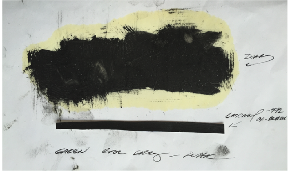 PINLINE   TEST (CHROMIUM US 101) , WINTER 2014, COLLAGE, INK AND OIL ON PAPER, 4 X 7 INCHES (10.16 X 17.78 CM)