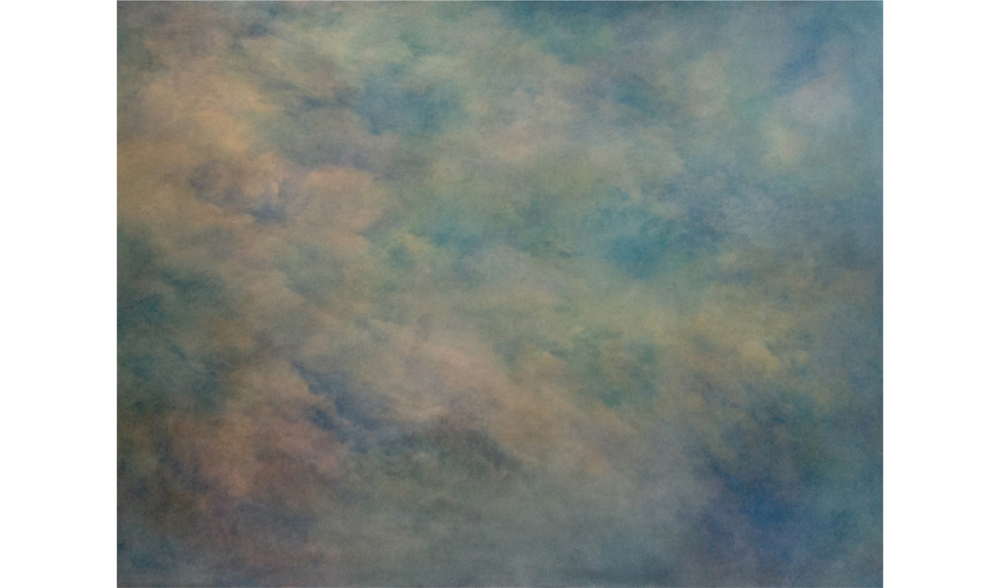 BLUE ON PINK , SUMMER 2014, OIL ON CANVAS, 48 X 60 INCHES (121.92 X 152.4 CM)
