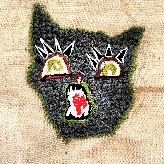 Embroidery Cat in Burlap