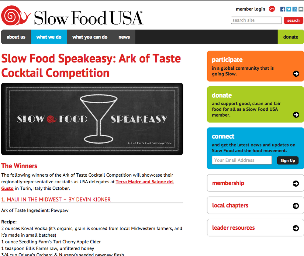 Slow Food USA covering my first place win!