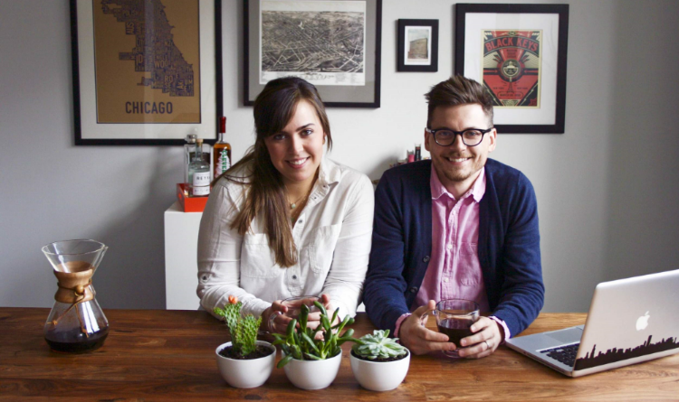 Nicole and Nick, the wife and husband team behind Printer's Row Coffee Co.