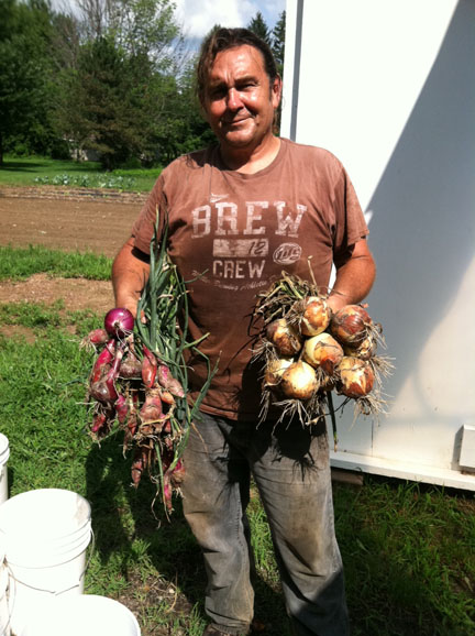 Dave showing off what he grew, picture courtesy of Leaning Shed