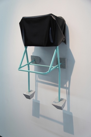 Untitled  (JEFF 1) Latex, Metallic structure (IKEA JEFF Chair) and cement 47 x 39 x 39 inches 2014