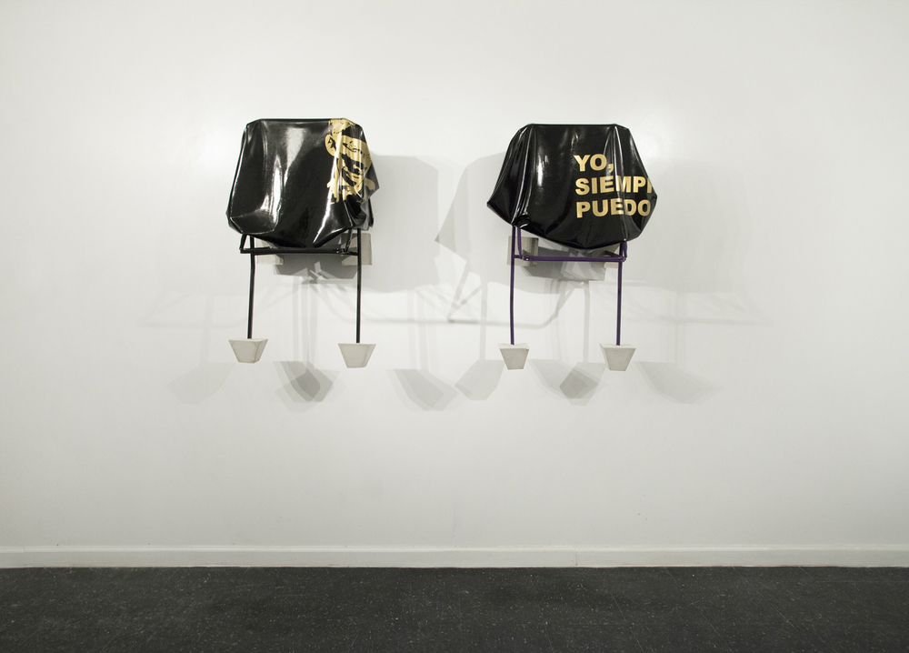 YO SIEMPRE PUEDO (diptych) Silkscreen on latex, metallic structure (Ikea JEFF Chair), paint and cement 47 x 39 x 39 in. 2014