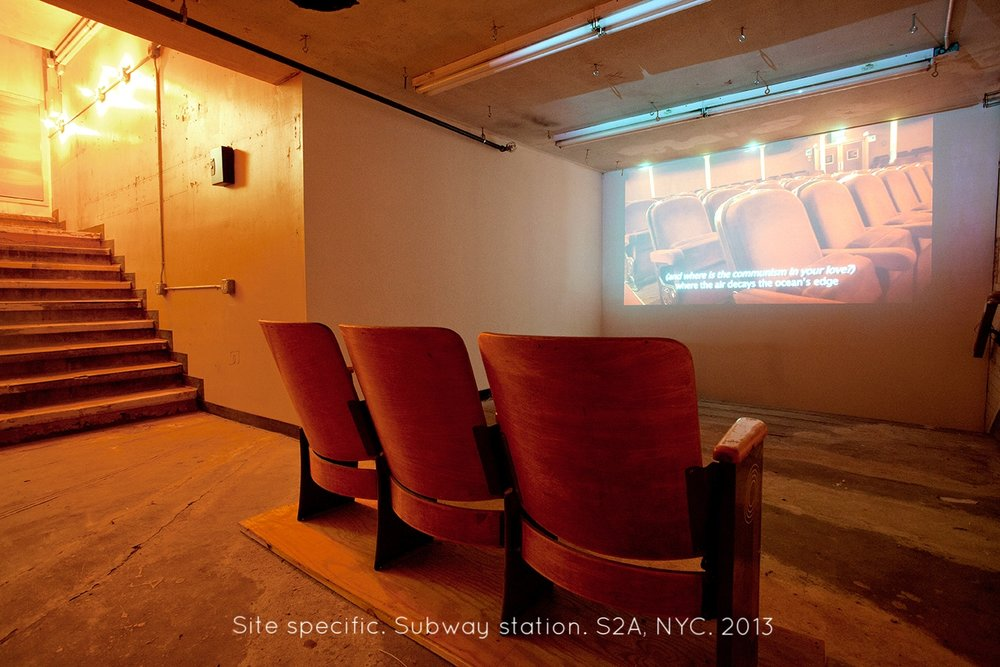 1- Itziar Barrio. WE COULD HAVE HAD IT ALL .2013. HD video 9'21 and Theater chairs. S2A. Installation View.jpg