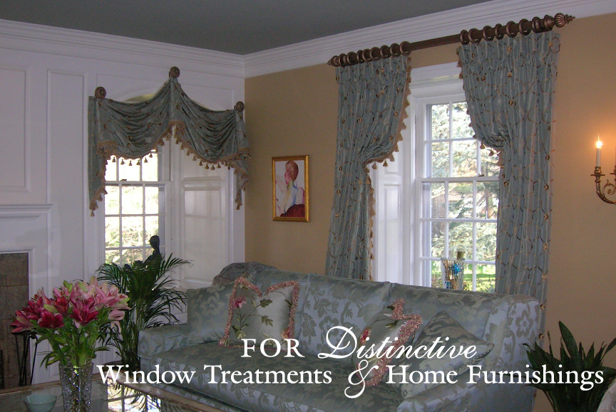 Window treatments and draperies for distinctive homes.