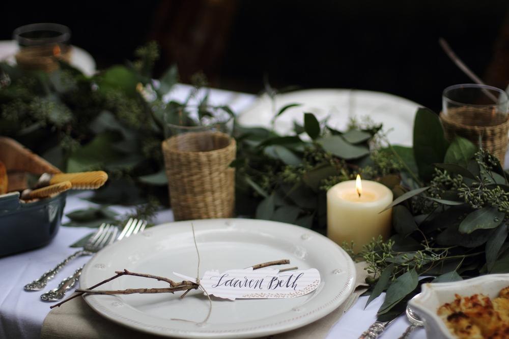 Feather + Twig Name Cards // Autumn Garden Dinner Party