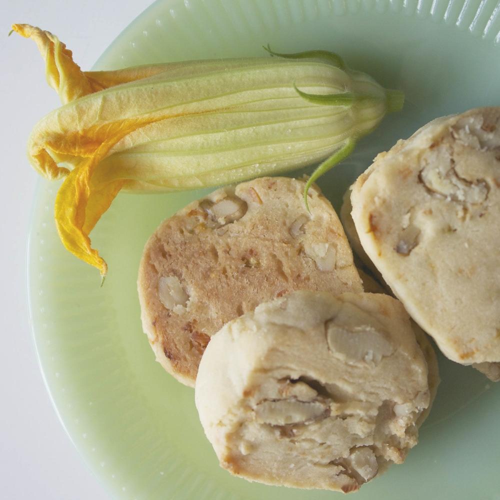 squash blossom + feta shortbread cookie