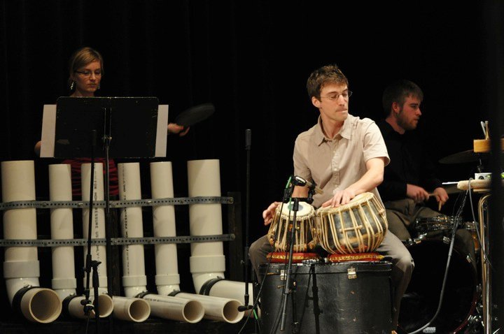 Members of Starbrand with the University of Michigan Percussion Ensemble performing the world premier of  PTA , 2010  Photo credit: Cory Robinson