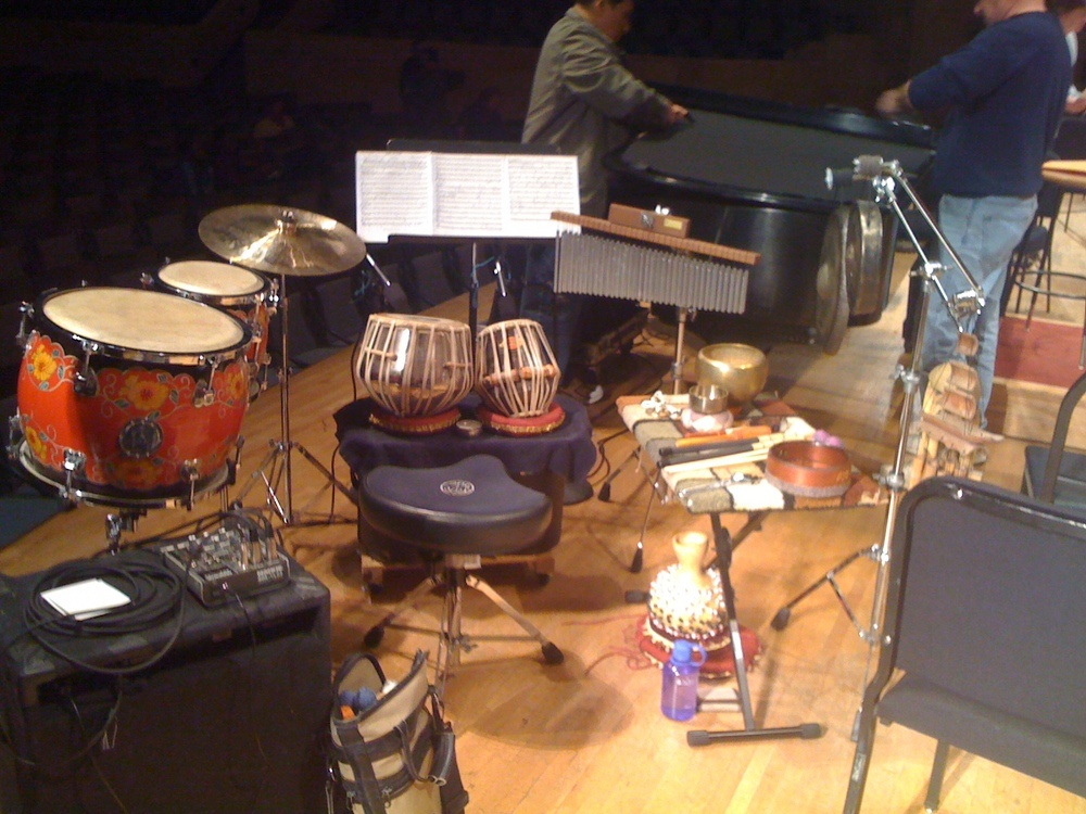 Dan's setup for Stanley Cowell's  Asian Arts Suite , Toledo Symphony Orchestra, 2010