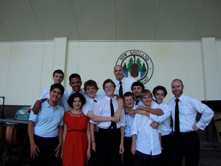 Dan, Patrick Roulet, and Loy Donaldson with percussion students at New England Music Camp, 2011