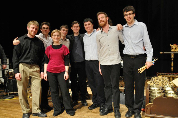 Members of Starbrand with the University of Michigan Percussion Ensemble after the world premier of  PTA , 2010  Photo credit: Cory Robinson