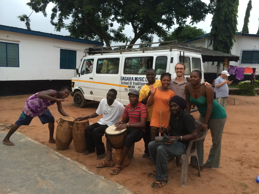 Dan with the staff at the Dagara Music Center, Medie, Ghana, 2014