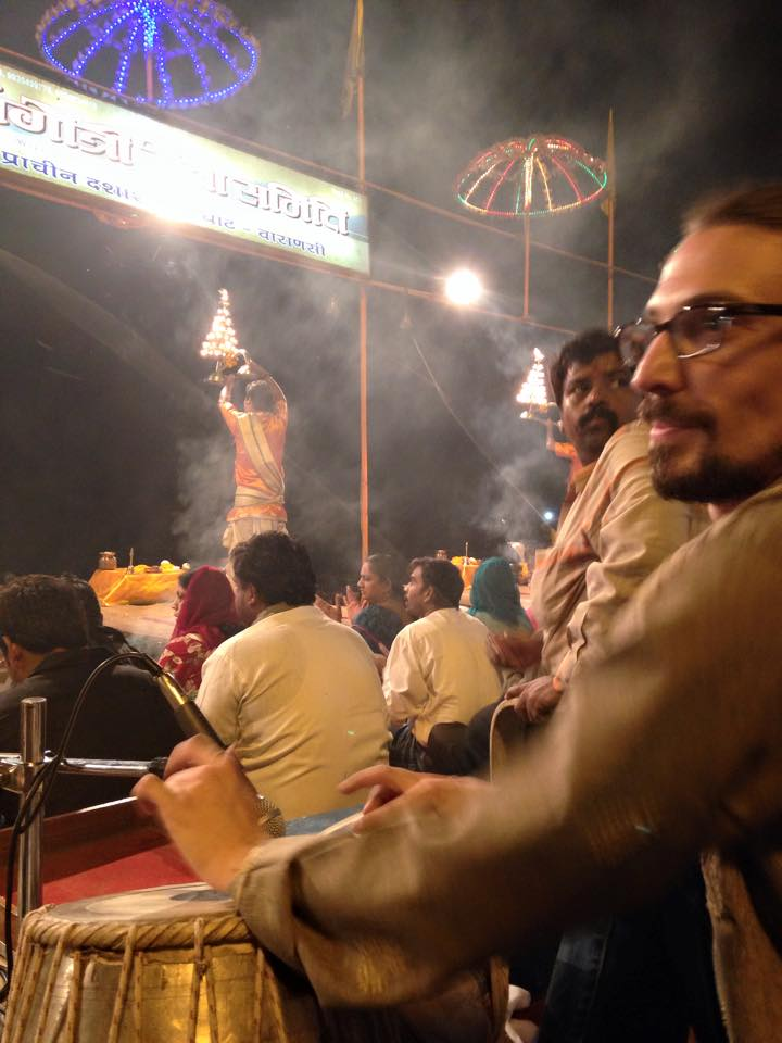 Sitting in at the evening Aarti on Dashashwamedh Ghat, Varanasi, March 2015.