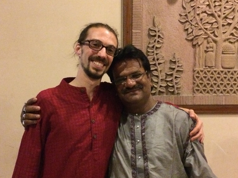 Dan with his tabla  guru,  Pandit Kuber Nath Mishra, Varanasi, March 2015.