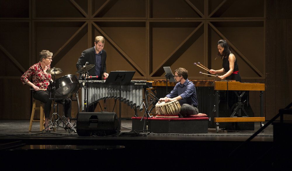 "X4 Percussion Quartet premiering Adam Silverman's ""Spiderweb Lead"" at the 2018 Bowling Green New Music Festival. Photo Credit: Lindsay Gross"