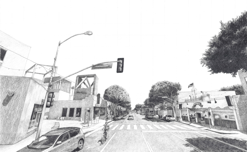 Street View Drawing Main Street Santa Monica