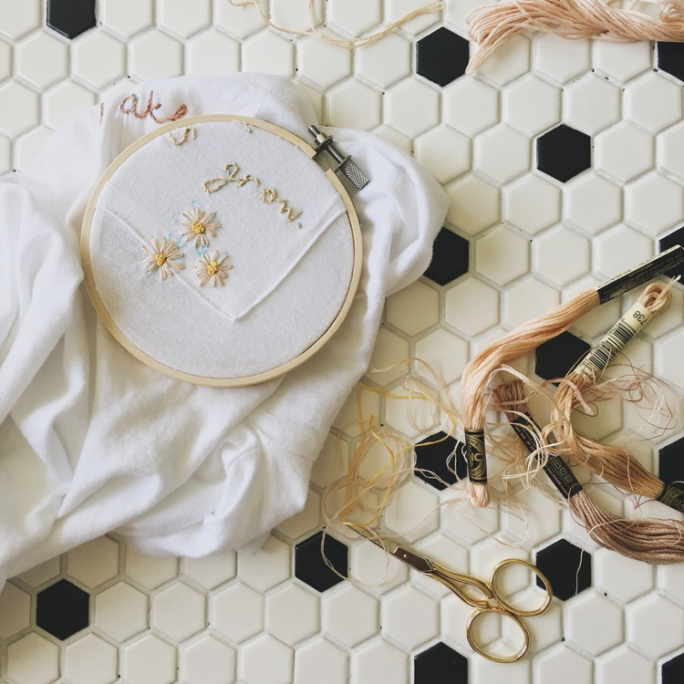 Diy Hand Embroidered Shirt Onesie Under A Tin Roof