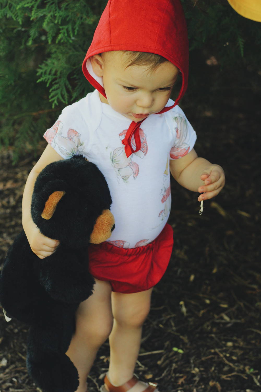 Red Linen Bonnet + Bloomers  - Under A Tin Roof //  Gnome + Toadstool Onesie  - Under A Tin Roof