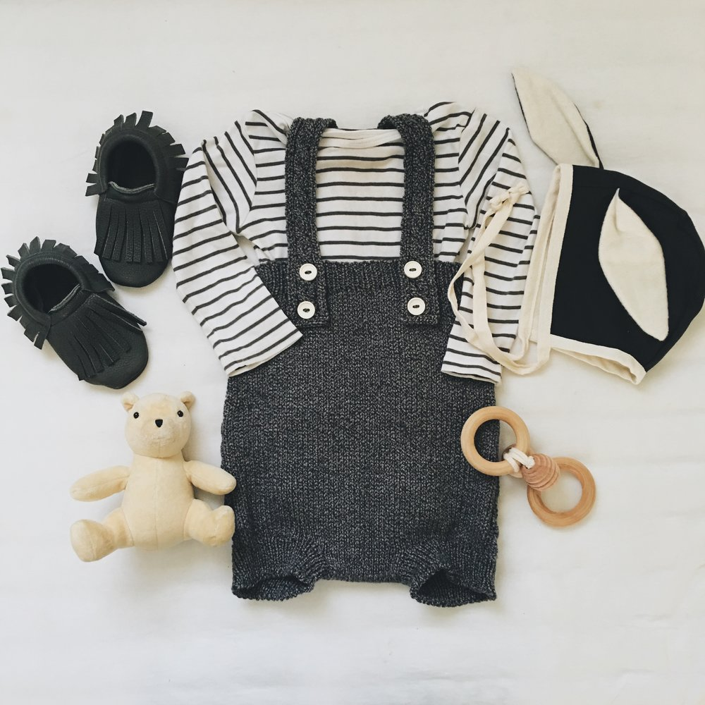 Knit Romper c/o  Rainer & Bear  ;Long Sleeve Onesie - H&M ; Rabbit-Eared Cap c/o  Tortoise and The Hare Clothing  ;  Raven Moccasins  c/o  Little Pine Outfitters  ;  Bee Teether  c/o  Wild Creek Co