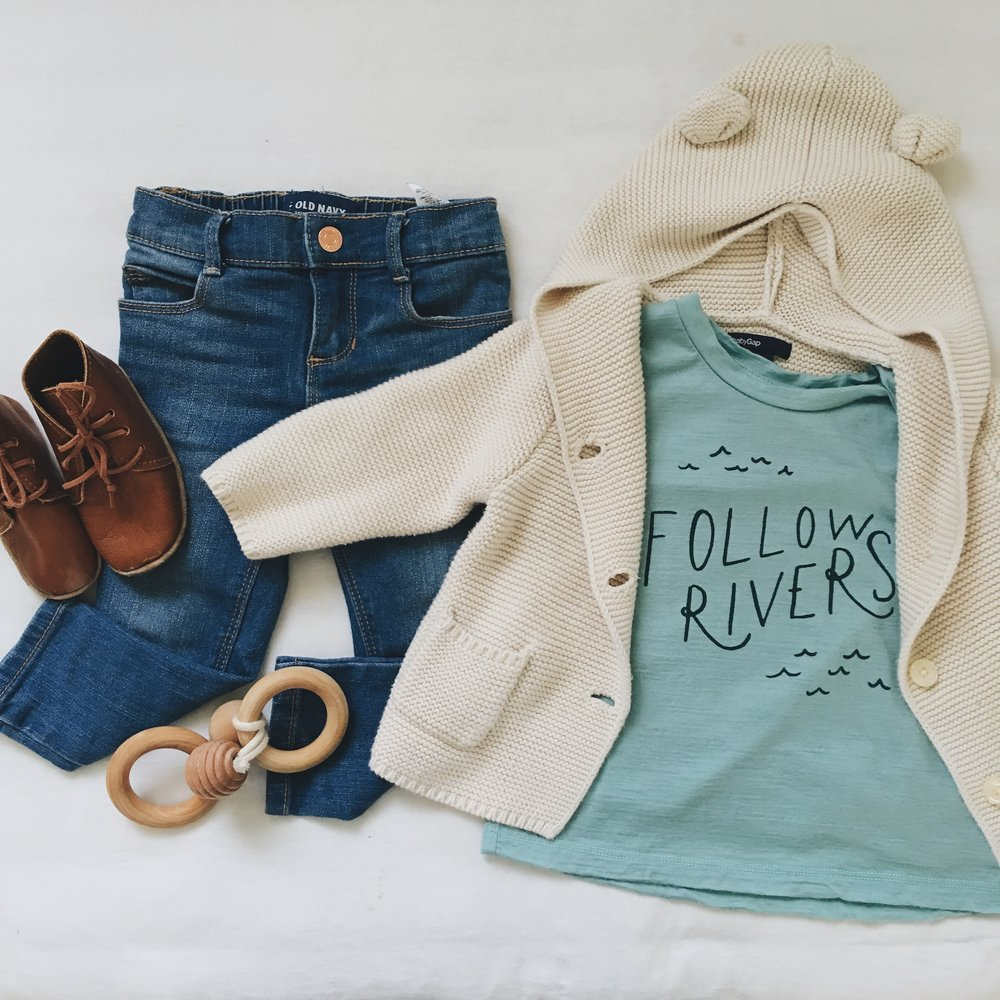 """Follow Rivers"" Tee c/o Chasing Windmills ; Sweater - Gap; Jeans - Old Navy (girl's department) ; Leather Booties c/o Ulla + Viggo ; Bee Teether c/o Wild Creek Co"