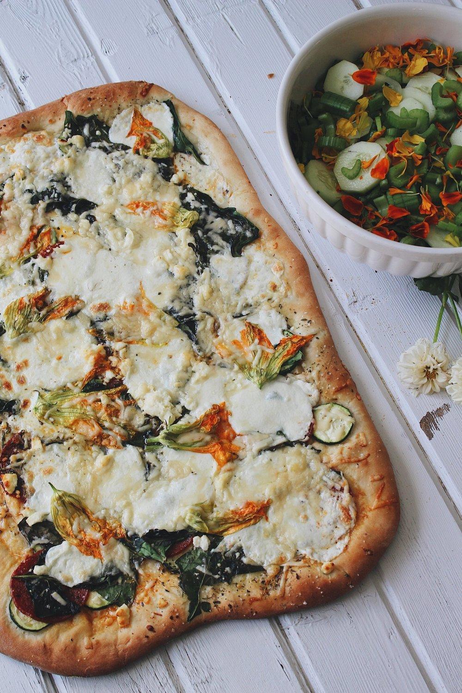 Squash Blossom + Zucchini Pizza