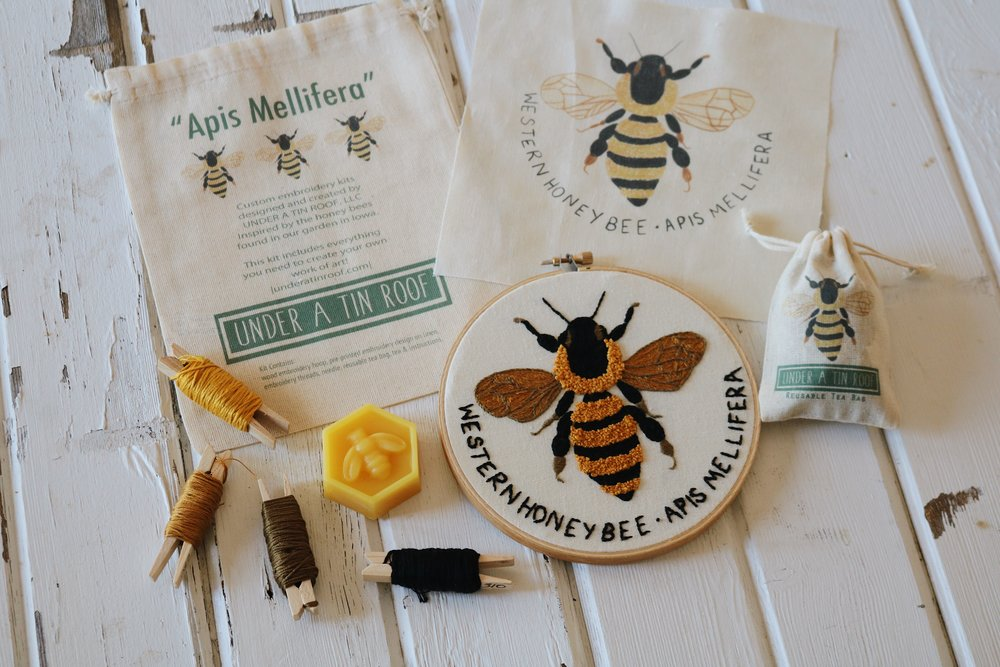 "UATR Embroidery Club: ""Apis Mellifera"" Hoop Introduction - Under A Tin Roof Blog"