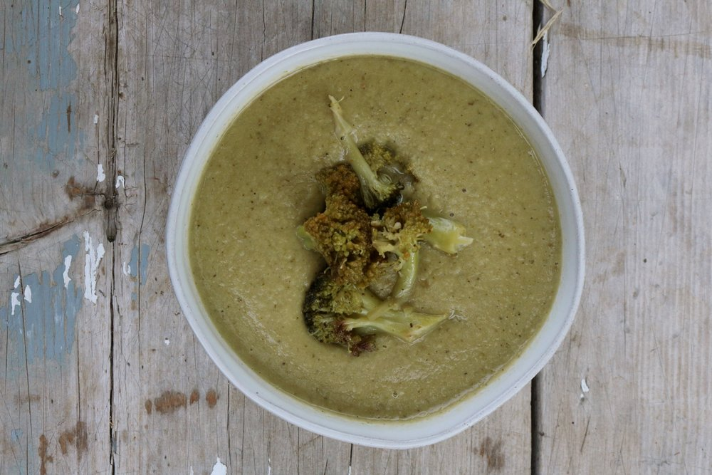 Roasted Broccoli Soup with Frozen Broccoli - Under A Tin Roof Blog