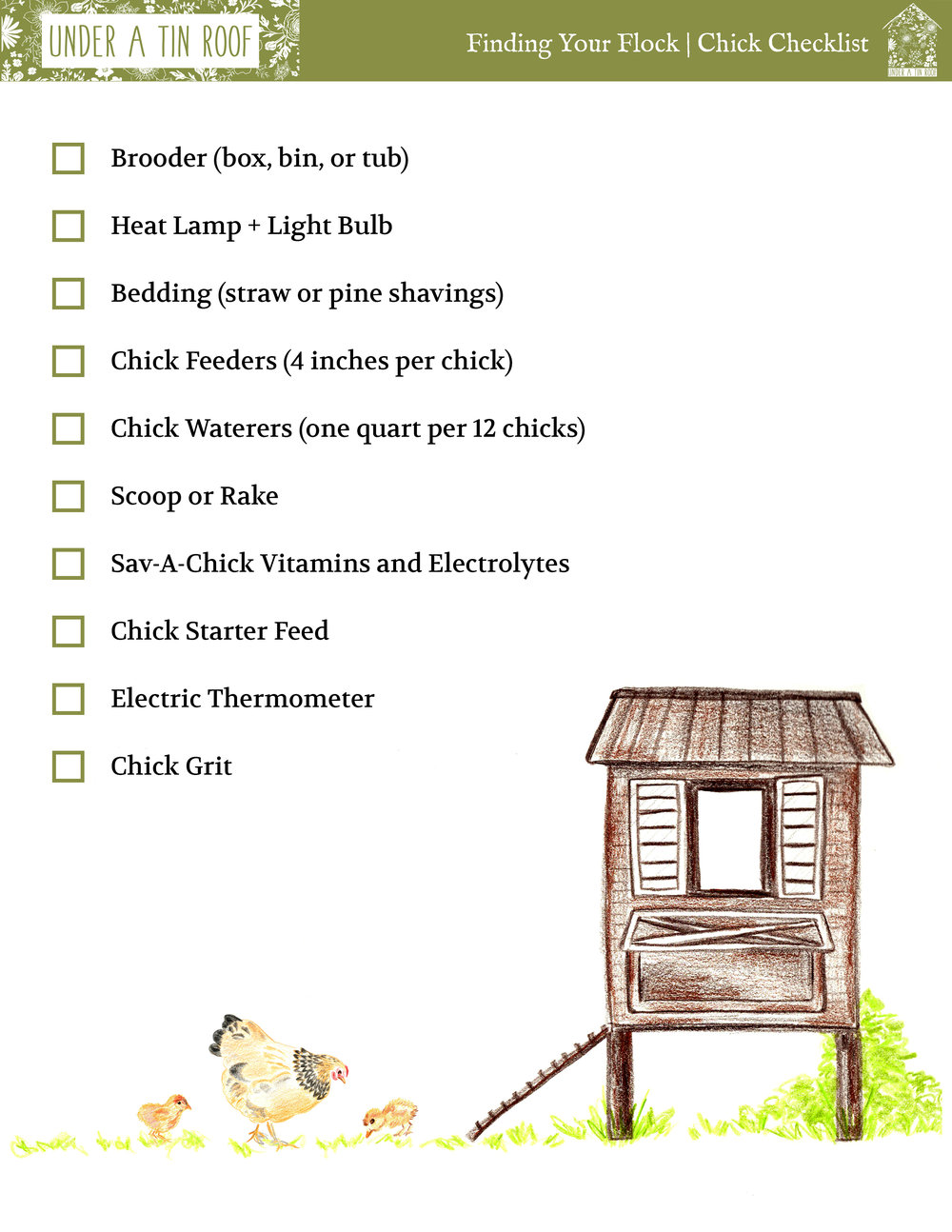 What Do I Need? Chick Checklist for the Feed Store - Under A Tin Roof Blog